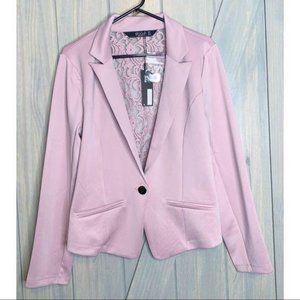 Stoosh Pale Mauve Lace Back One Button Blazer